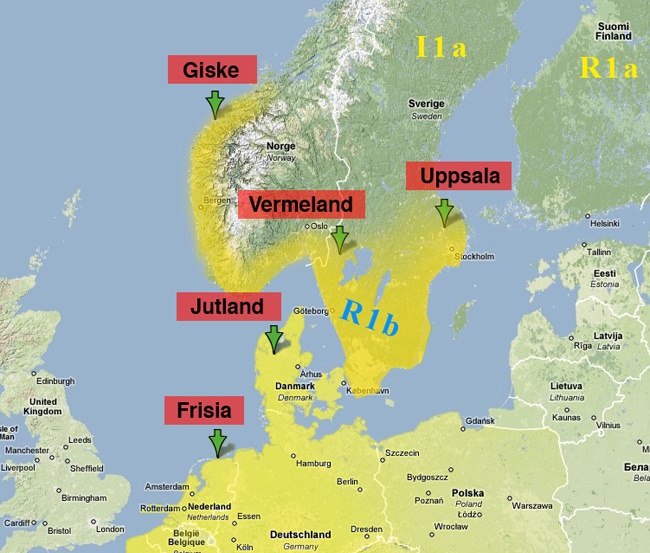 Rollo's supposed geography overlaid with R1b